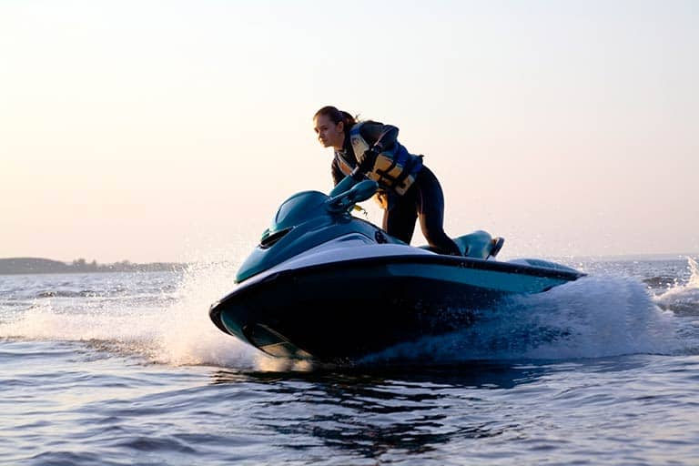 woman on a jetski