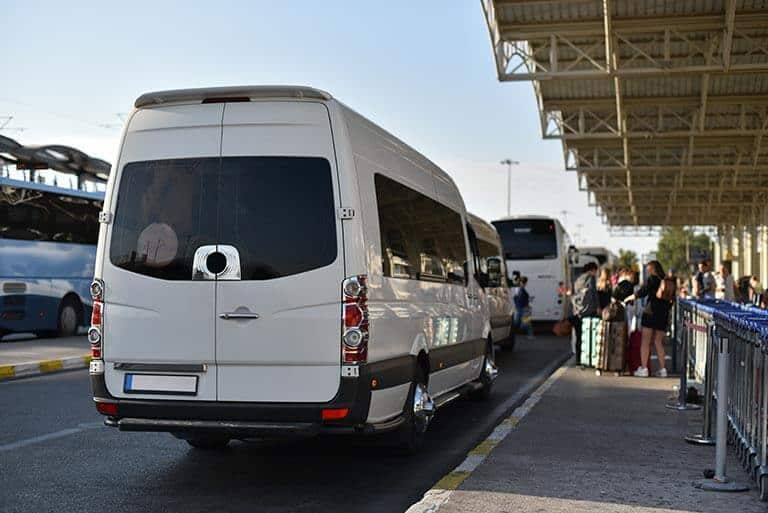 minibus sat at unloading spot in airport