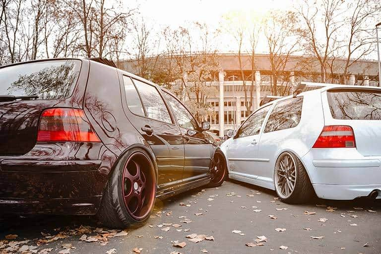 modified golf gtis in car park