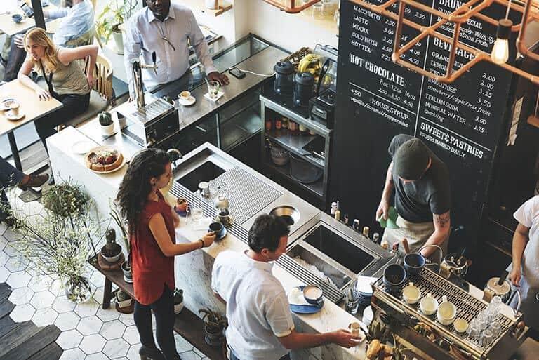 customers at barista bar