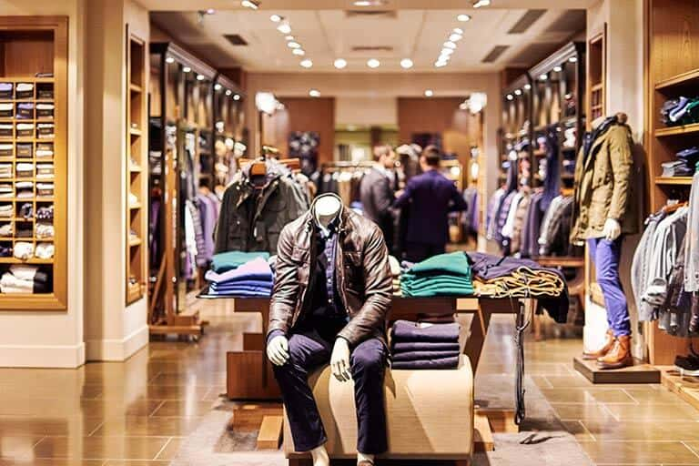 headless model in place inside clothing store