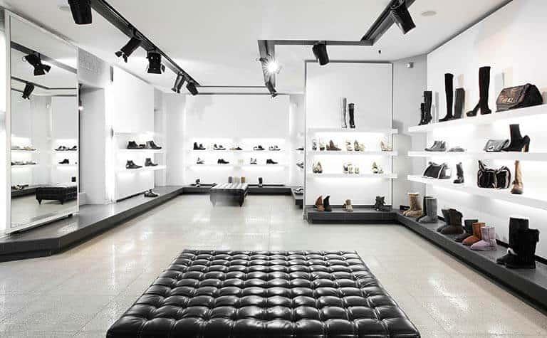 interior of expensive shoe shop