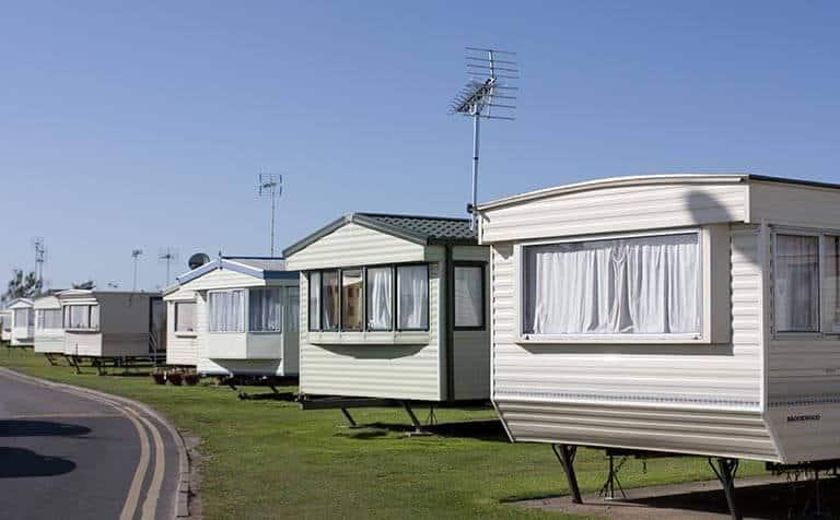 row of static homes in caravan park