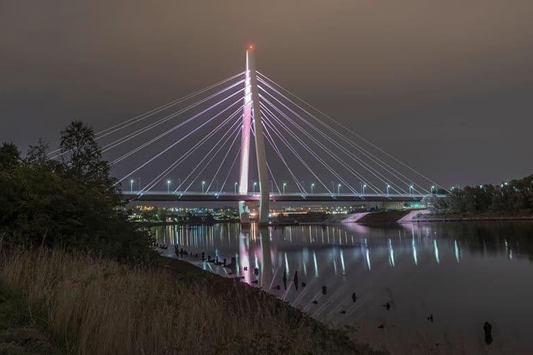 view of a lit up bridge
